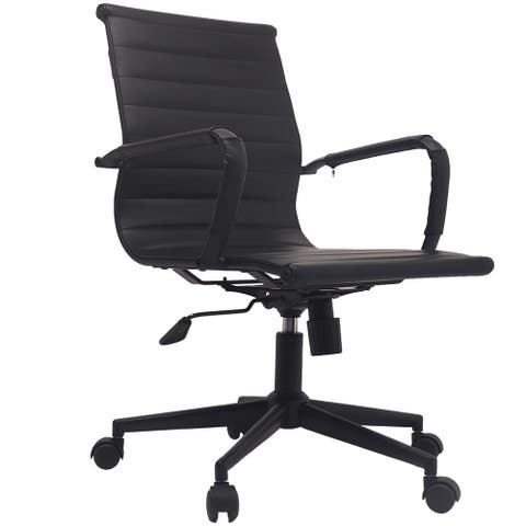 Black Office Arm Chairs Mid Back Ribbed PU Leather Conference with Arms Wheels Tilt Swivel Rolling on Black Base