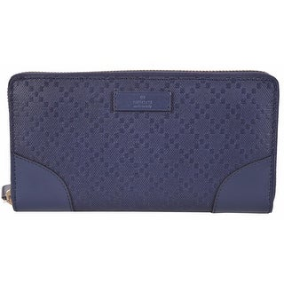 New Gucci Women's 354487 Blue Leather Diamante Zip Around Wallet