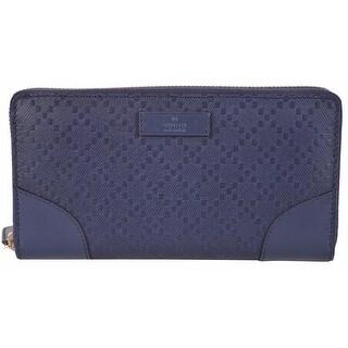New Gucci Women's 354487 Blue Leather Diamante Zip Around Wallet