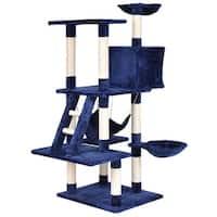 Gymax 57'' Cat Tree Kitten Pet Play House Condo Scratching Posts w Ladder Hammock - navy