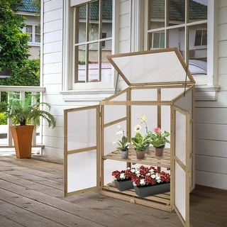 Costway Garden Portable Wooden GreenHouse Cold Frame Raised Plants