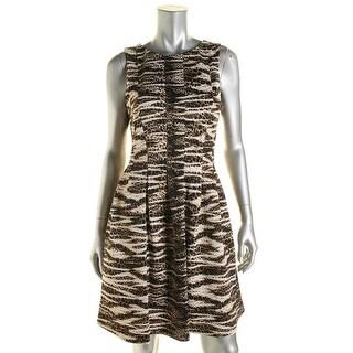 Calvin Klein Womens Printed Box Pleat Wear to Work Dress - 4