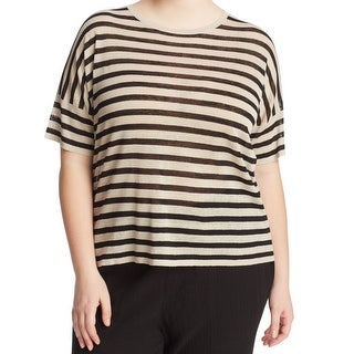 Eileen Fisher NEW Beige Black Women's Size 3X Plus Striped Knit Top