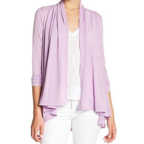 Gibson Purple Textured Striped Women Large L Drape Cardigan Sweater