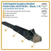 Tripp Lite N201-001-Bk 1Ft Cat6 Gigabit Snagless Molded Patch Cable - Black