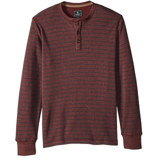 G.H. Bass & Co. Red Mens Size XL Waffle Striped Henley Shirt