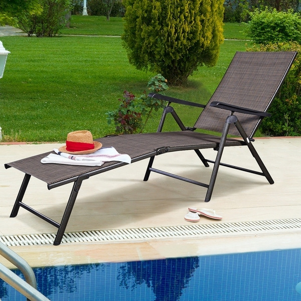 shop costway pool chaise lounge chair recliner outdoor patio furniture adjustable on sale. Black Bedroom Furniture Sets. Home Design Ideas