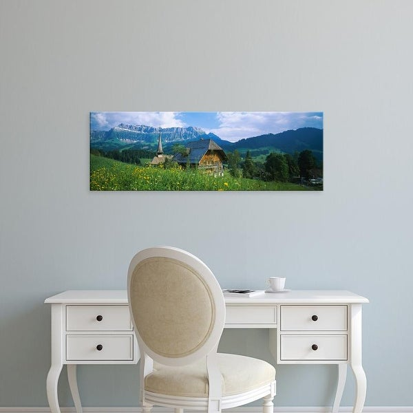 Easy Art Prints Panoramic Images's 'Chalet and a church on a landscape, Emmental, Switzerland' Premium Canvas Art