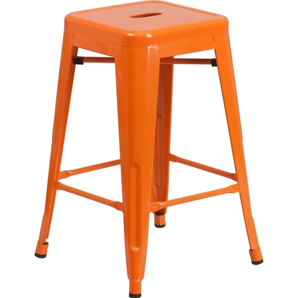 Collins 24'' High Backless Orange Metal Indoor/Outdoor/Patio/Bar Counter Height Stool w/Square Seat