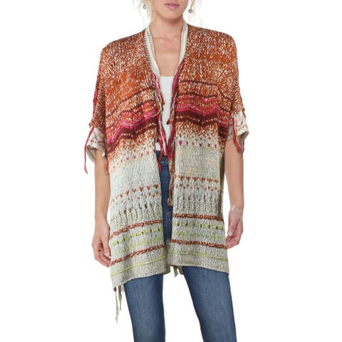 Free People Skies The Limit Women's Distressed Colorblock Three-Quarter Sleeve Open Front Knit Cardigan Sweater