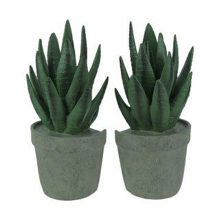 Artificial Potted Tropical Aloe Plant Bookend Set - DARK GREEN