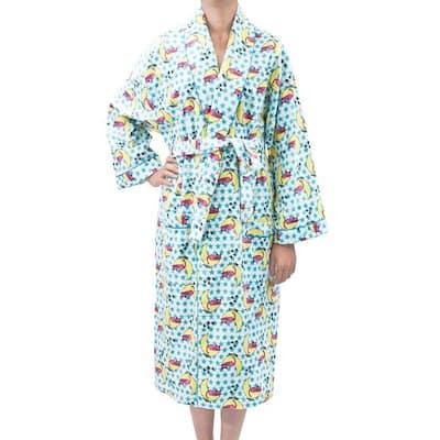 Leisureland Sleepy Kitty Cat Print Cotton Flannel Fashion Robe