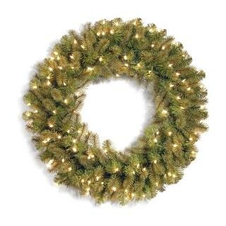 Pre-Lit Downswept Douglas Christmas Wreath - 36-Inch, LED Lights - green