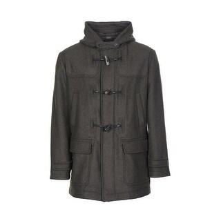 Bloomingdales Hooded Toggle Wool Blend Overcoat Brown Olive 44 Regular 44R