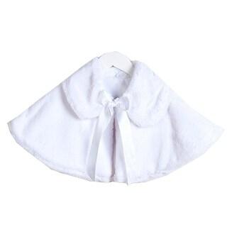 Baby Girls White Satin Tie Collared Elegant Faux Fur Cape 6-24M