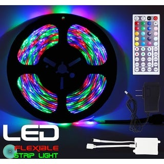Techno Earth 16.4 Feet 5M 5 Meter SMD RGB 3528 Waterproof IP65 LED Strip light 300 LED + 44 Key Remote + 12V Supply Power