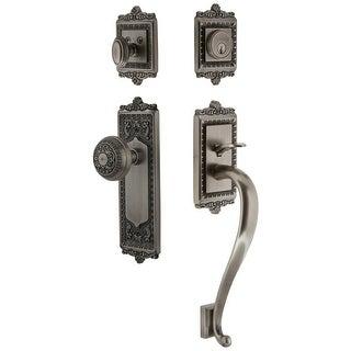 Grandeur WINWIN_ESET_238_SG  Windsor Solid Brass Rose Keyed Entry Single Cylinder Sectional 'S' Grip Handleset with Windsor Knob