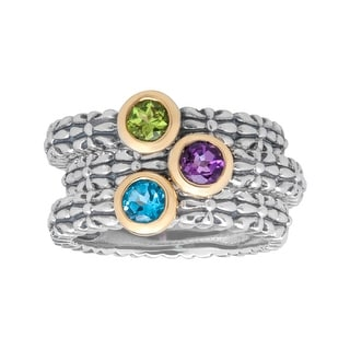 3/4 ct Multi-Stone Stackable Ring Set in Sterling Silver and 14K Gold - Multi-Color