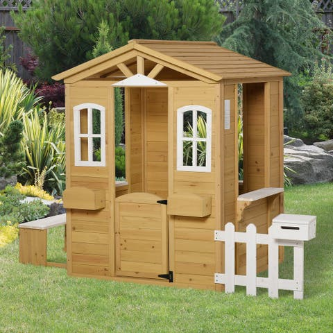 Outsunny Outdoor Playhouse for kids Wooden Cottage with Working Doors Windows & Mailbox, Pretend Play House for Age 3-6 Years