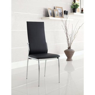 Contemporary Side Chair, Black Finish, Set Of 2
