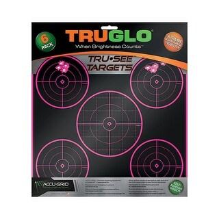 Truglo Tru-See Splatter Target 5 Bull's-Eye - 12x12 Inch, Pink, 6 pack