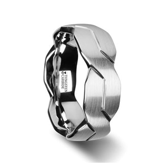 FOREVER White Tungsten Ring with Brushed Carved Infinity Symbol Design