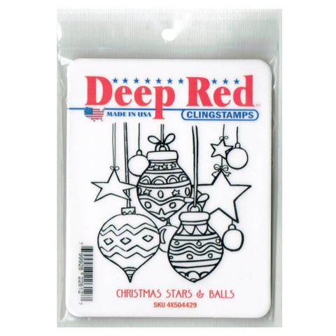 Deep Red Stamps Christmas Stars and Balls Rubber Cling Stamp - 3.1 x 3