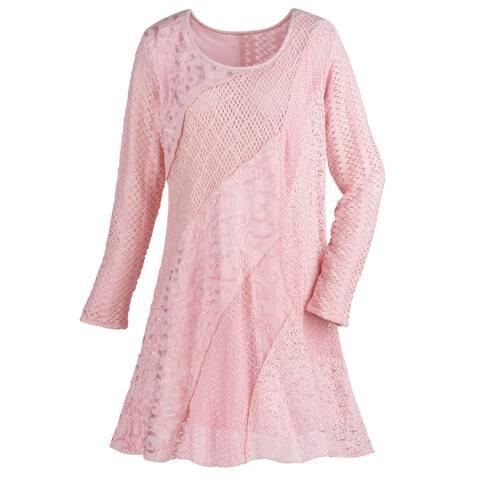Women's Lace & Crochet Tunic Top - Pink Asymmetrical Textured Swirls Long Sleeve