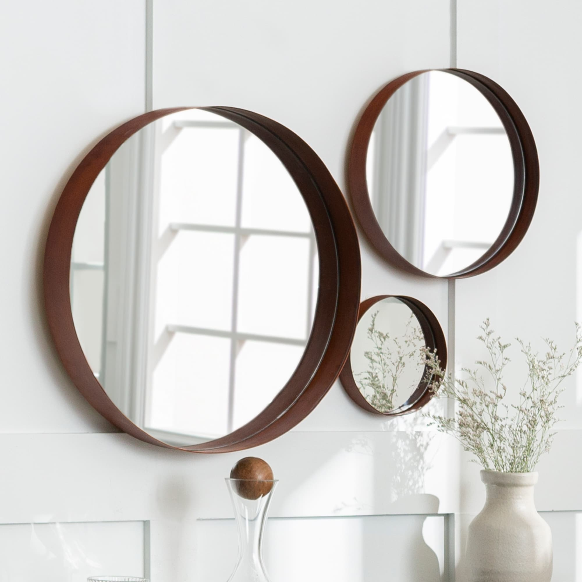 Shop Middlebrook Designs Round Copper Banded Wall Mirrors Set Of 3 Overstock 17433994