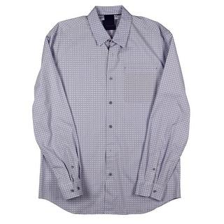 Elie Tahari Mens Zac Woven Pattern Button-Down Shirt - L