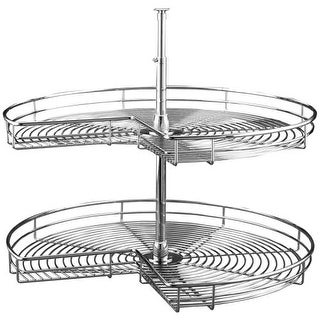 """Rev-A-Shelf 5472-32 5472 Series 32"""" Diameter Kidney Shaped Two Shelf Metal Wire Lazy Susan Set with 26-32"""" Extension Shaft"""