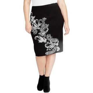 Rachel Rachel Roy Womens Plus Pencil Skirt Paisley Knee-Length