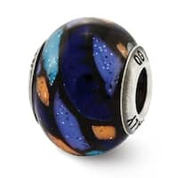Italian Sterling Silver Reflections Blue Decorative Overlay Glass Bead (4mm Diameter Hole)