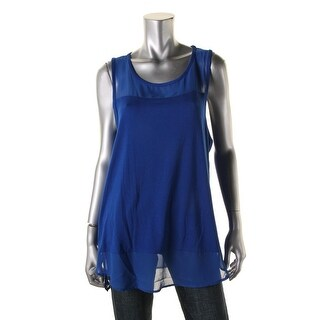Vince Camuto Womens Casual Top Mixed Media Sleeveless