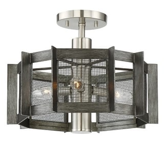 "Designers Fountain 89311 Baxter 3 Light 16"" Wide Semi-Flush Ceiling Fixture with"