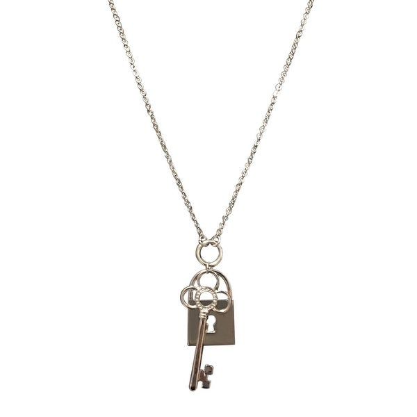 max & MO Silver Lock and Key Oversize Charm Pendant Necklace