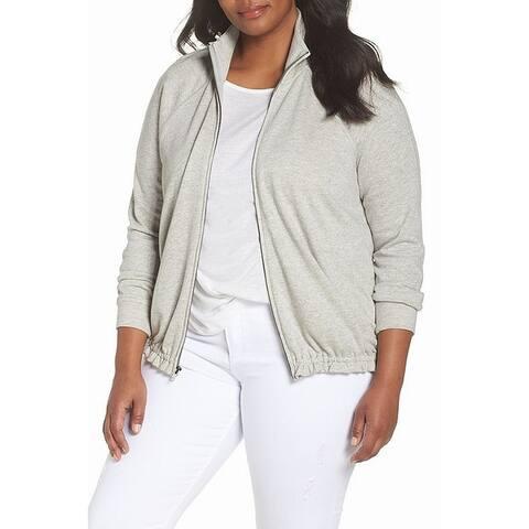 Caslon Women's ;777ub o Gray Size 1X Plus Mock Neck Track Jacket