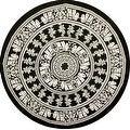 Handmade 100% Cotton Mandala Floral Tie Dye Elephant Print Tablecloth 72 Inch Round - Black & White and Black & Brown - Thumbnail 2