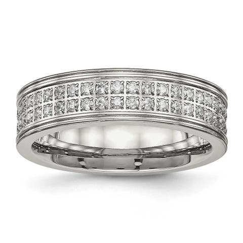 Stainless Steel Polished CZ Ring (6.5 mm) - Sizes 6 - 13
