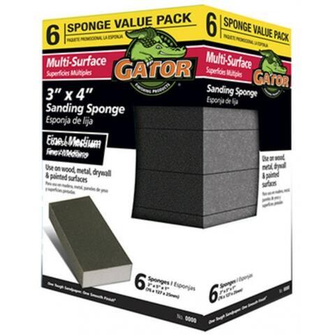 "Gator 4200 Multi-Surface Sanding Sponge, Coarse/Medium, 3"" x 4"", 6-Pack"