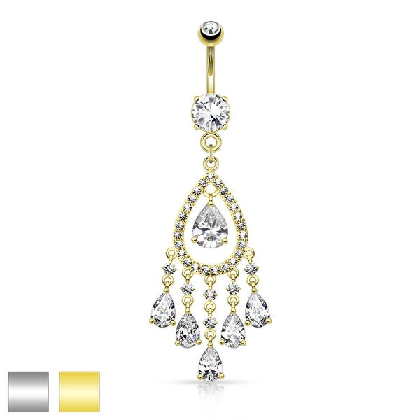 Multi Tear Drop and Round CZ Set Chandelier Dangle Navel Ring