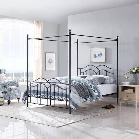 Earhart Traditional Canopy Queen Bed Frame by Christopher Knight Home