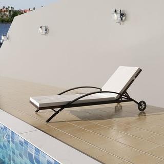vidaXL Sun Lounger with Cushion & Wheels Poly Rattan