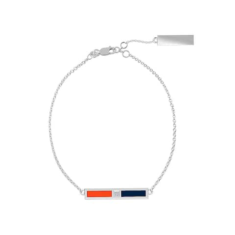 Auburn University Sterling Silver Diamond Bar Chain Bracelet In Orange & Blue