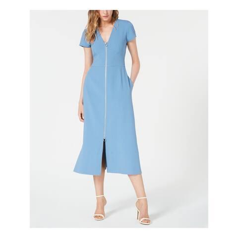 JILL STUART Blue Short Sleeve Midi Dress 0