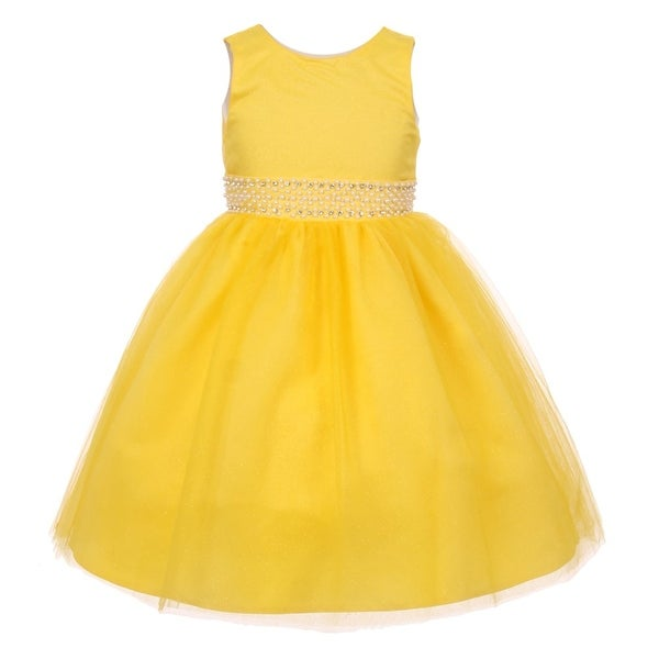 6967c477db8d1 Shop Rain Kids Little Girls Yellow Sparkly Tulle Pearls Occasion Dress 2-6  - Free Shipping On Orders Over $45 - Overstock - 18164328