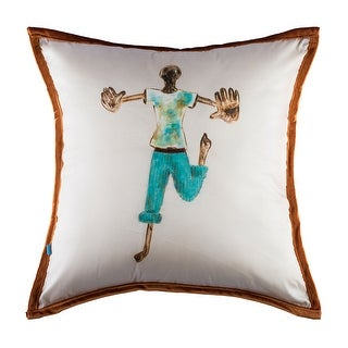 100% Handmade Imported The Dancing Boy Pillow Cover, Shades of Blue and Brown, Brown Trim