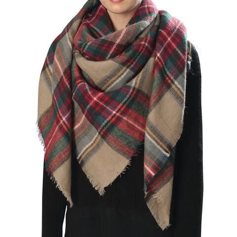 Women Large Stylish Warm Plaid Checkered Design Blanket Scarf Gorgeous Wrap Shawl