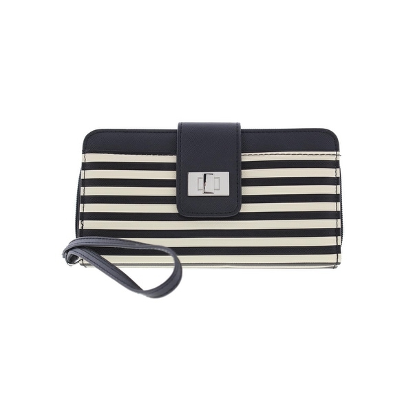 Kenneth Cole Reaction Womens Wristlet Wallet Faux Leather Striped