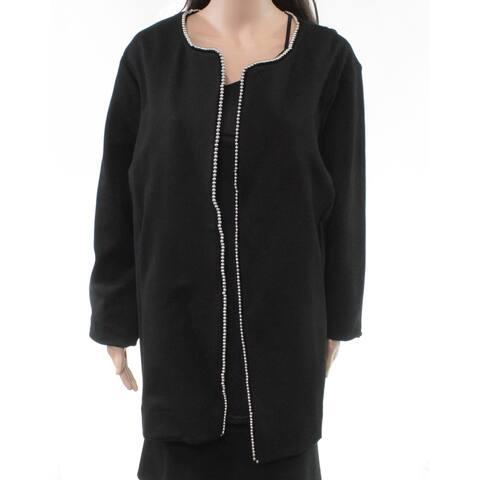 Alfani Women's Jacket Deep Black Size 16W Plus Beaded-Trim Solid